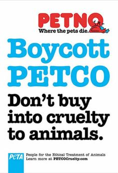 """Kat H. Fall 2017 Section 1 – This ad is from 2005 and it represents a victory for PETA, """"Thanks to PETA's lengthy campaign to push PETCO to take more responsibility for the animals in its stores, the company agrees to stop selling large birds and to make provisions for the millions of rats and mice in its care."""" This ad is simple, concrete and its core message is powerful. It's the type of ad that moves people into action. https://www.peta.org/about-peta/milestones/"""