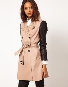 ASOS Studded Collar Mac with PU Sleeves