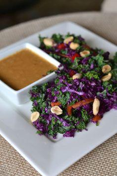 Kale Salad with Spicy Peanut Dressing - Vegan