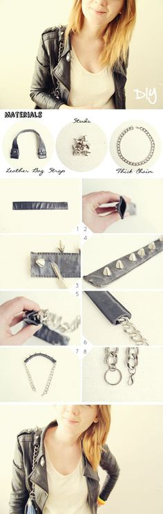 Studded handbag strap tutorial