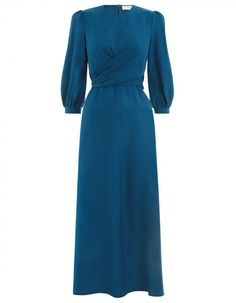 Shop Designer Midi Dresses Online Moncur Empire Dress Dresses Clothing Ready to Wear 30s Dress, Silk Midi Dress, Boho Dress, Modest Fashion, Fashion Dresses, Women's Fashion, Casual Dresses, Dresses For Work, Maxi Dresses