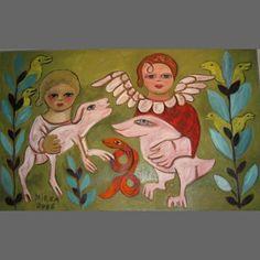 Mirka Mora - Angel And Friends World Painter, Australian Painting, Love Languages, 2d Art, Outsider Art, Figurative Art, Art For Kids, Framed Art, Folk Art