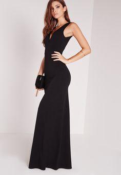 Missguided - V Plunge Maxi Dress Black