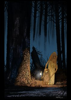 Source: http://mastersofanatomy.com/james-harren . James Harren - Masters of Anatomy ; Pictures of dark forests have always attracted me, so also this one. The dark figure in the background and the lighter ones in the front, make it look like a story in an animation.