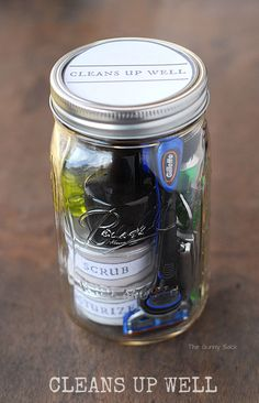 Cleans Up Well Jar – Your dad or boyfriend will love a mason jar full of little men's products.