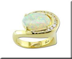 18K Yellow Gold Australian Opal and Diamond Ring