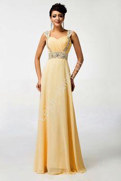 Brzoskwiniowa długa sukienka, sukienki wieczorowe