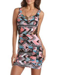 Lattice Waist Tribal Tank Dress