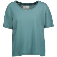Current/Elliott - The Freshman Cotton-jersey T-shirt ($49) ❤ liked on Polyvore featuring tops, t-shirts, teal, cowgirl t shirts, classic fit t shirt, ripped t shirt, torn t shirt and cotton jersey