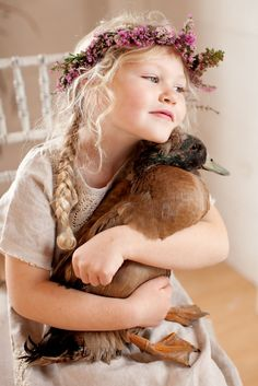 ✿⊱╮Country cutie with her duck.