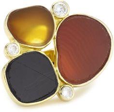 Yellow Amber Black Cluster Druzy Ring