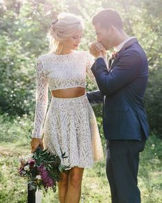 27 Amazing Short Wedding Dresses For Petite Brides ❤ short wedding dresses with long sleeves full lace top rime arodaky #weddingforward #wedding #bride