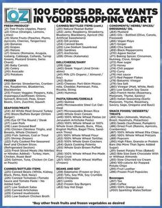 Healthy eating grocery list provided by the brilliant Dr. Oz who specializes in nutrition and a healthy diet! Get Healthy, Healthy Tips, Healthy Choices, Healthy Recipes, Healthy Foods, Eating Healthy, Clean Eating, Healthiest Foods, Easy Recipes