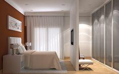 1- Quarto com cores neutras e closet na lateral da cama, com portas espelhadas para esconder as roupas e ampliar visualmente o quarto ...