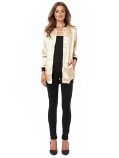 Rut & Circle Becca Long Bomber Gold