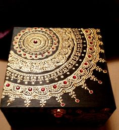 Midnight Black Mandala Keepsake Jewelry Box, with Ruby Red Gemstones.
