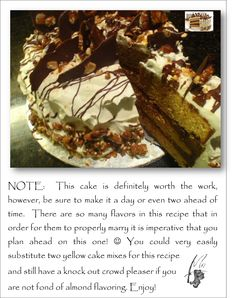 Almond Praline Cake With Mascarpone Frosting And Chocolate Bark Recipe ...