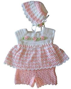 Jamie Baby Set Crochet Pattern ~ easy skill ~ 0-12 mos. ~ sweet & dainty ~ CROCHET ~ your baby will look like a Princess