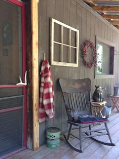 Cabin front porch ~ Love everything about this photo! The red plaid flannel shir… – farmhouse front door with screen Decor, Primitive Decorating, Country Porch, Country Decor, Decks And Porches, Cabins And Cottages, Front Door, Farmhouse Front Door, Rustic House