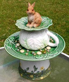Repurposed Bunny garden art by SecondChanceGarden on Etsy, $40.00