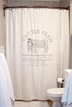 DROP CLOTH SHOWER CURTAIN THE COZY OLD http://FARMHOUSE.BLOGSPOT.CA