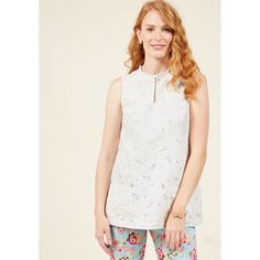 Familiar Flourish Lace Top ($55) ❤ liked on Polyvore featuring tops, apparel, sleeveless woven, varies, woven top, white lace top, snug top, white floral top, holiday tops and evening tops