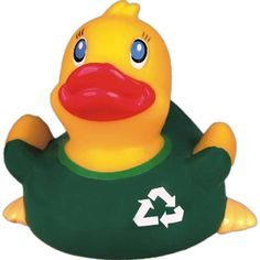 Go green rubber duck...Rubber duck, go green duck. Rubber duck with a green T-shirt and the recycle symbol on the shirt. This duck is great for sending out the message to go green! Floatable toy, balanced and weighted for floating.