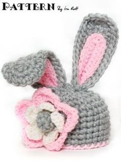 Fashion Crochet Design By Ira Rott: Crochet Bunny Hat With Flower for Little Girl - PDF Pattern for 5 sizes Mode Crochet, Crochet Diy, Easter Crochet, Crochet Bunny, Crochet Baby Hats, Crochet Beanie, Easy Crochet Patterns, Crochet For Kids, Crochet Crafts
