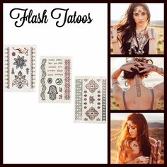 """Traditional Henna Flash Tattoos Set 3 Sheets NEW WITH TAGS  Traditional Henna Tattoo Set 3 Sheets Multi Pack   * Amazing indicate designs for the face & body   * Bold, vibrant matte & metallic combinations  * Set includes 3 sheets, approx 8.25""""L X 5.5"""" W sheets  * Long lasting yet easy to remove   Material: Water permeable Paper & Ink  Color: Black & Brown Combo  No Trades ✅Offers Considered*/Bundle Discounts✅ *Please use the 'offer' button above to submit an offer. Boutique Makeup"""