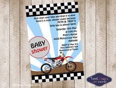 Motorbike Printable Baby Shower Invitation on Etsy, $15.00 AUD