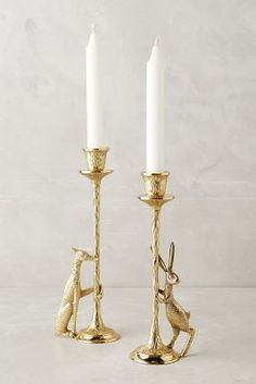 Hound and rabbit taper candle holders // Anthropologie