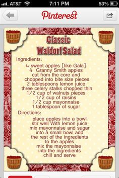 Waldorf salad, I add sour cream instead of the mayo & sugar, but this is a great holiday salad. (healthy fruit salads sour cream)