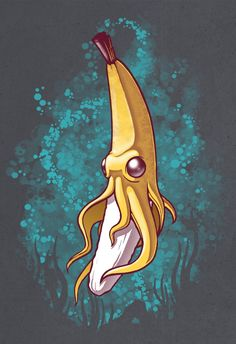 Banana Squid!!! Art Print