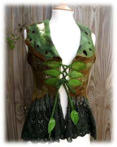 Green Fairytale Forest Vest Faerie Costume Pixie coat by folkowl, $170.00