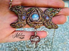 Triple Moon Goddess Celtic necklace magic potion by MelianArt moonstones jewelry