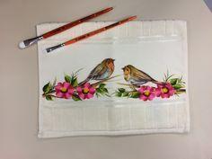 Arte Brasil | Toalha de Mão Flores e Pássaros - Denise Emery
