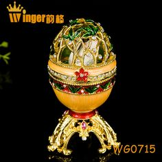 Swan Decoration Hollow Faberge Eggs Trinket Box Sculpture Home Display Gold Plated Easter Egg Magnet Metal Crafts