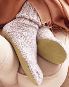 No-Sew Slipper Socks  Padding around the house in warm wool socks is a cozy comfort that can sometimes be slippery -- add soles for more solid footing.    Get the How-To