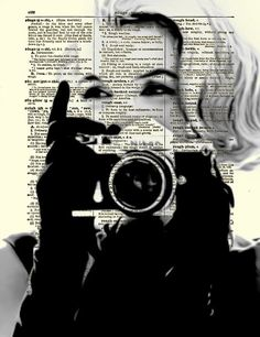 Marilyn Monroe with Camera, Marilyn Monroe Art Print, Print on Dictionary Paper, Wall Decor, Mixed Media Collage by ReImaginationPrints on Etsy Art Marilyn Monroe, Friends Of The Library, Old Hollywood Style, Unique Wall Decor, Norma Jeane, Mixed Media Collage, Old Antiques, Les Oeuvres, Street Art