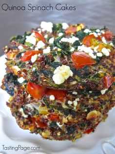 Quinoa Spinach Cakes ~ So cute, made in muffin cups or mini pie tins! And loaded with flavorful, nutritious ingredients! Gluten free, too! ~ from Tasting Page