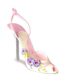 Faithful by Just the Right Shoe™  2010's annual floral themed Breast Cancer Awareness shoe features cornflowers, beautiful and very resilient, hardy meadow flowers that not only get by on minimum care and water, but also somehow thrive. A perfect symbol for all the resilient women and those that love them that we pay tribute to.