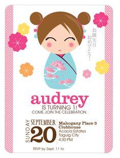 Sushi Birthday Party Invitation Card Party Invitations - Birthday invitation in japanese