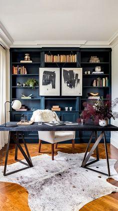 Blue Home Offices, Home Office Space, Home Office Decor, Decorating Office, Office Ideas, Office Spaces, Modern Office Decor, Apartment Office, Blue Home Decor