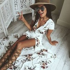 white Long Summer Beach Dress Printed Women Sexy Deep V Floral Chiffon Maxi Dress Front Split Bohemian Dresses White Boho Dress Floral Chiffon Maxi Dress, White Boho Dress, Summer Outfits, Cute Outfits, Summer Dresses, Non Blondes, Maxi Robes, Chic Dress, Ladies Dress Design