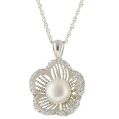 "Sterling Silver Cubic Zirconia Edged Flower with Pearl Center Pendant Necklace, 18"" Amazon Curated Collection, http://www.amazon.com/dp/B007F5NMF8/ref=cm_sw_r_pi_dp_qsTmqb07RDMA9"