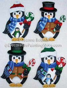 The Decorative Painting Store: Penguins and Peppermints Ornaments Pattern by Jeanne Bobish, Newly Added Painting Patterns / e-Patterns