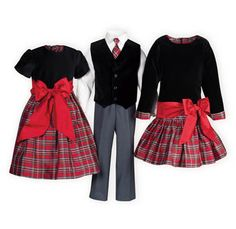 Christmas Plaid matching sister dresses. Girls' Christmas dresses of silk and velvet.Made exclusively for THE WOODEN SOLDIER.