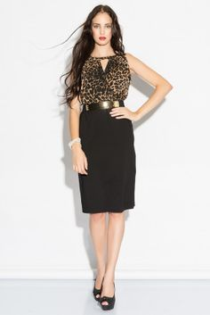 Irony leopard chiffon leopard dress