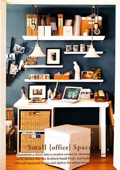 """small office space...love all the white on the dark background color with the orange/neurtal colors """"popping"""" out."""