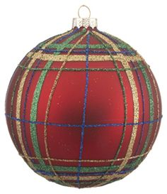Im thinking Irish national tartan - diy for next year. Props to link: Red and Green Plaid Ball Christmas-Ornaments.com